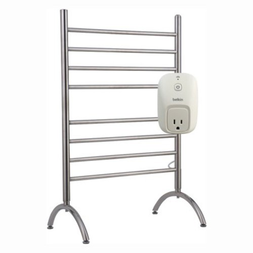 WarmlyYours Barcelona 8-Bar Electric Towel Warmer in Brushed Stainless Steel with WeMo Switch