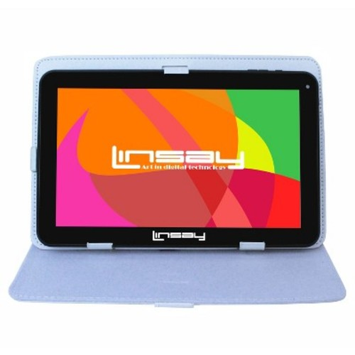 LINSAY 10.1 inch New Quad Core 8GB Tablet Bundle with White Leather Case