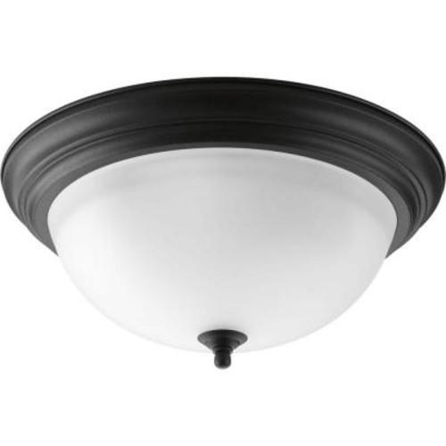 Progress Lighting 15.25 in. 3-Light Forged Black Flushmount with Alabaster Glass
