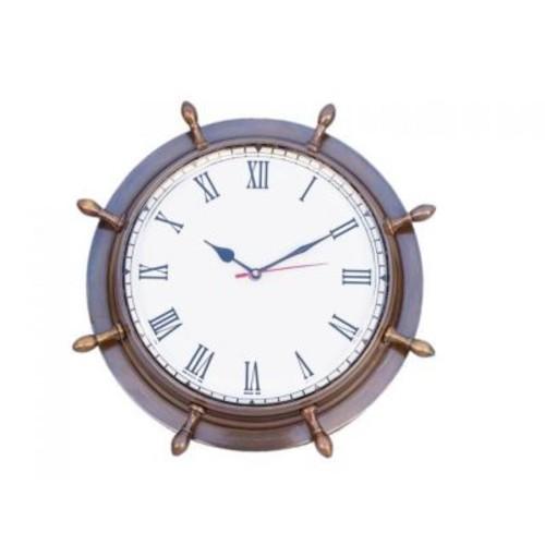 Handcrafted Nautical Decor Antique 15'' Ship Wheel Clock