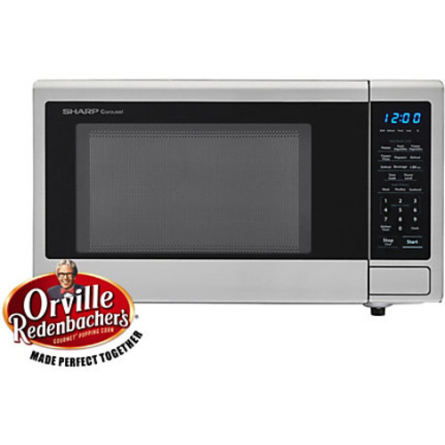 Sharp Carousel 1.1 Cu Ft Countertop Microwave Oven With Orville Redenbacher's Popcorn Preset, Stainless