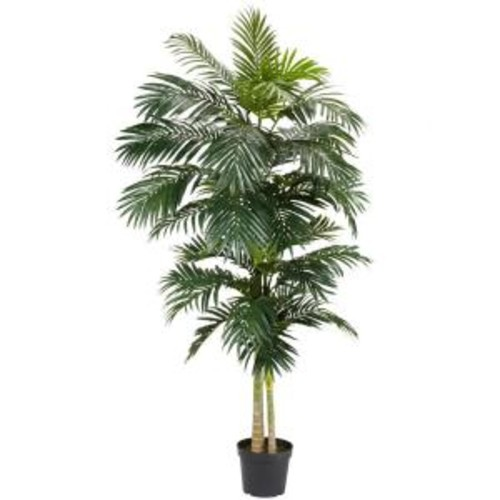 Nearly Natural 8 ft. Green Golden Cane Palm Silk Tree