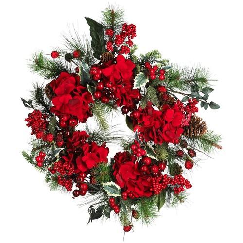 Nearly Natural Hydrangea Wreath Holiday 22-Inch 4661