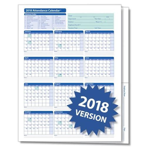 ComplyRight 2018 Attendance Calendar Folders, 9 3/8