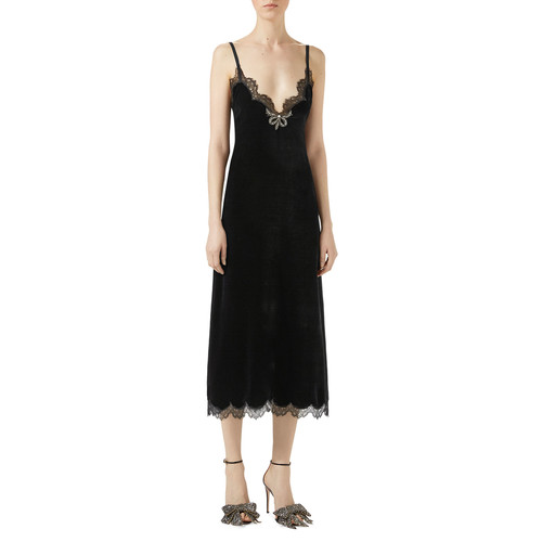 GUCCI Velvet Lace-Trim Slip Dress, Black