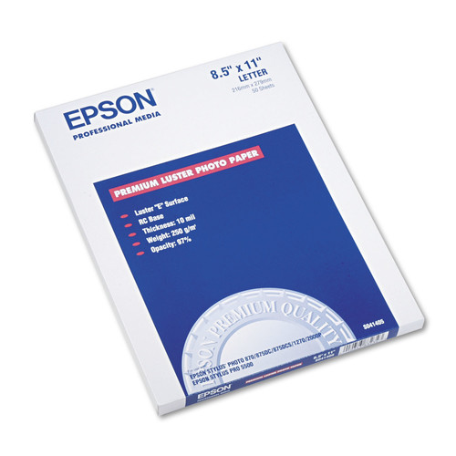 Epson EPSS041405 Ultra Premium Photo Paper, 64 lbs., Luster, 8-1/2 x 11, 50 Sheets/Pack