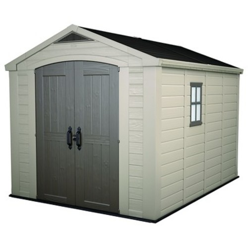 Factor Large Resin Outdoor Storage Shed 8X11 - Taupe/Beige - Keter