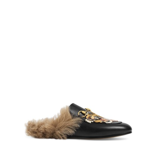 GUCCI Women'S Princetown Lamb Fur Slippers