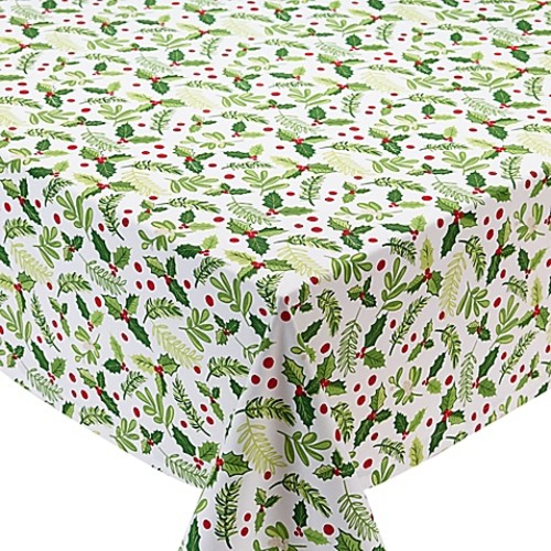 Design Imports Boughs of Holly 60-Inch x 84-Inch Oblong Tablecloth