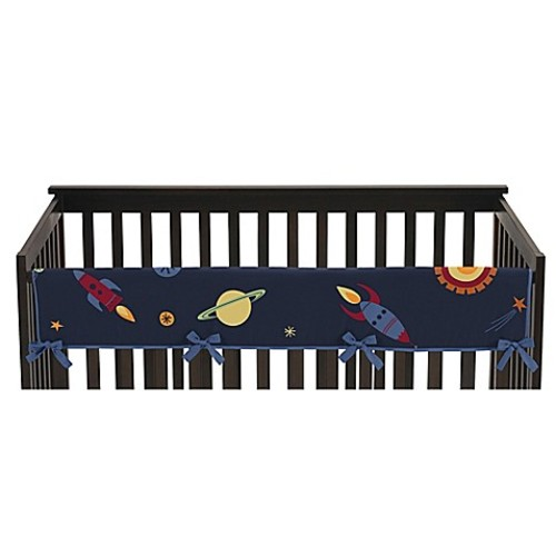 Sweet Jojo Designs Space Galaxy Reversible Long Crib Rail Cover in Navy/Green