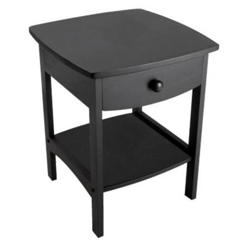 Winsome Wood End Table/Night Stand with Drawer and Shelf, Black [Black]
