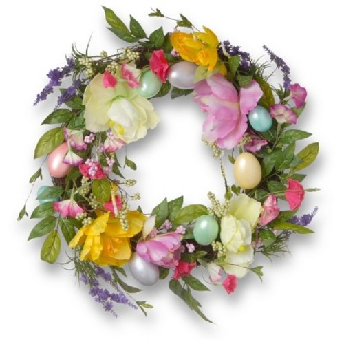 National Tree Company 20 in. Tulip and Easter Egg Decorated Wreath