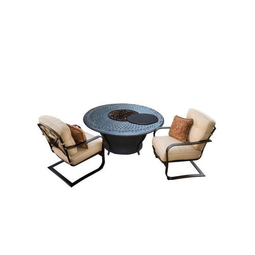 3-Piece Round Cast Aluminum Gas Fire Pit Set w/ Cream Patio Spring Chairs