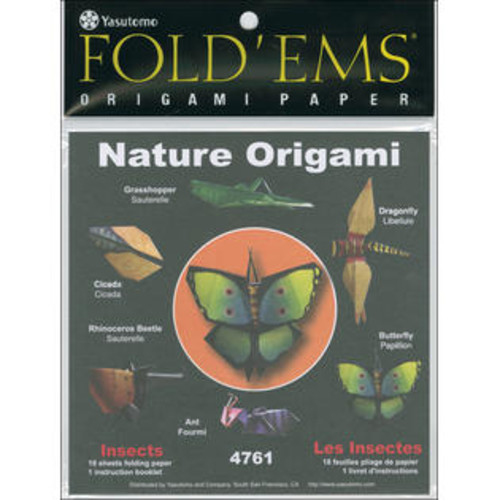Yasutomo Fold 'Ems Insects Origami Paper, 18-Pack