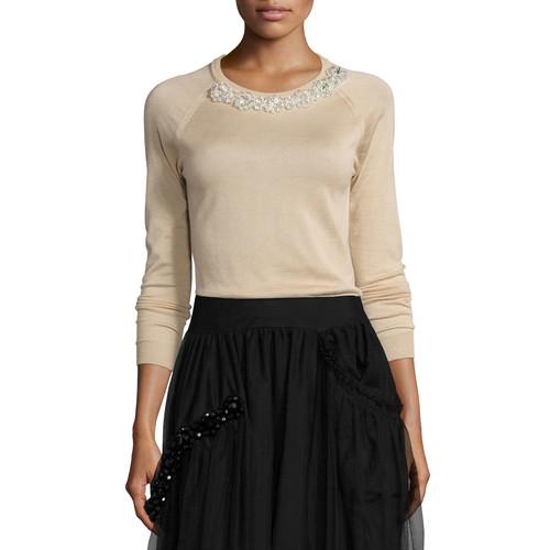 SIMONE ROCHA Beaded Crewneck Long-Sleeve Sweater, Camel