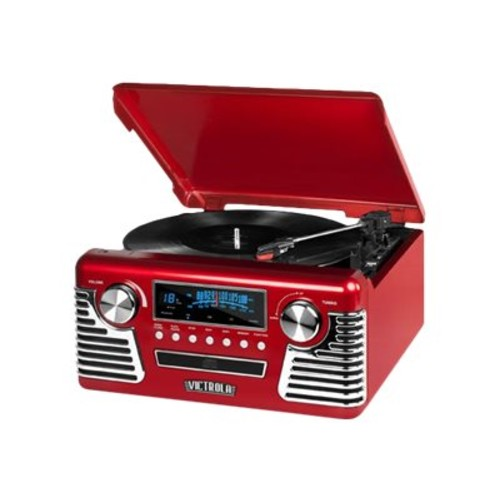 Victrola V50-200 Red Retro Record Player Stereo with Bluetooth and USB Digital Encoding, Red