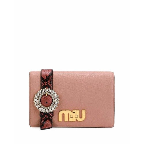MIU MIU Leather & Snakeskin Clutch Bag With Jeweled Belt