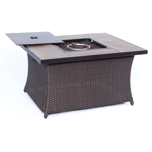 Cambridge Outdoor 40,000 BTU Woven Fire Pit Coffee Table with Wood Grain Tile Top