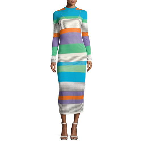 DIANE VON FURSTENBERG Long-Sleeve Knit Colorblock Midi Dress, Multi
