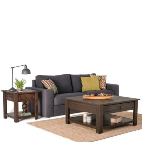 Simpli Home Monroe Square Coffee Table in Distressed Charcoal Brown (AXCMON-02)