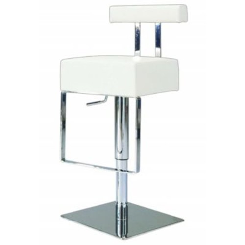 Chintaly Adjustable Height Swivel Bar Stool; White