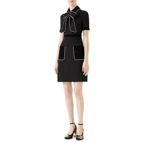 GUCCI Viscose Jersey Dress With Pearls & Crystals