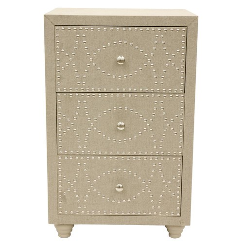 Decor Therapy Gray Linen Nail-Head End Table