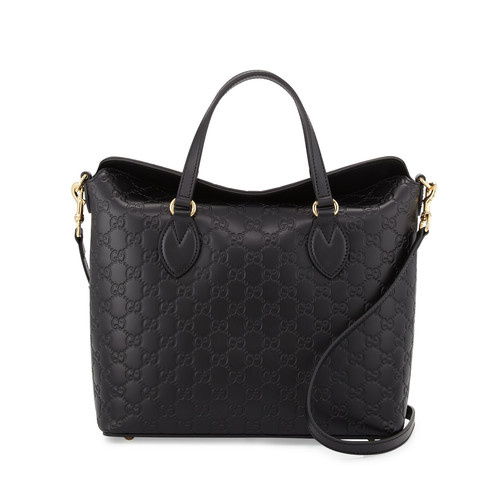 GUCCI Ssima Leather Top-Handle Bag, Black