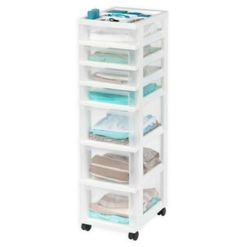 IRIS 7-Drawer Storage Cart with Organizer Top in White