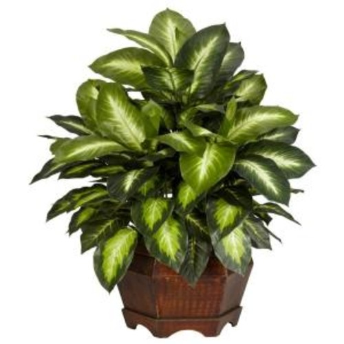 Nearly Natural 24 in. H Green Golden Dieffenbachia Silk Plant