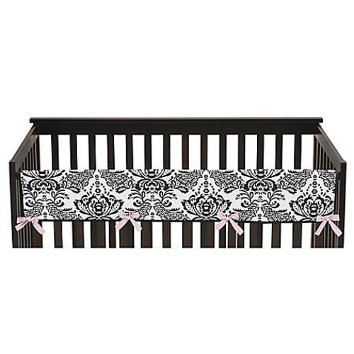 Sweet Jojo Designs Sophia Long Crib Rail Cover in Pink/White
