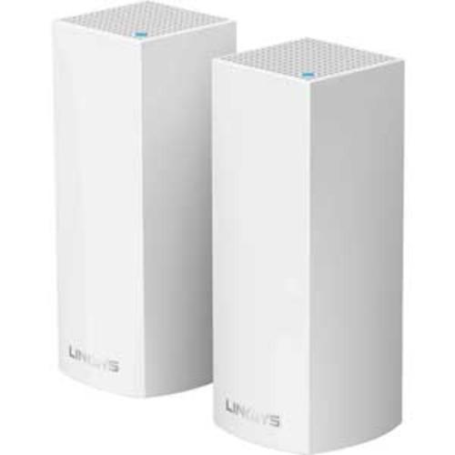 Linksys Velop Tri-Band Wireless Router - Bluetooth 4.0 LE, WAN ports: 2, 802.11b/g/n/ac, Tri-Band, Up to 4400 Mbps Wi-Fi Data Throughput, 512MB RAM, 4GB Flash, White - WHW0302
