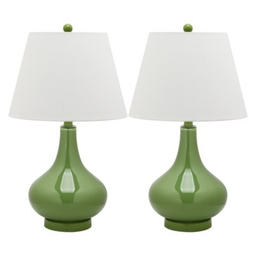 Amy Gourd Glass 1-light Red Table Lamps (Set of 2)