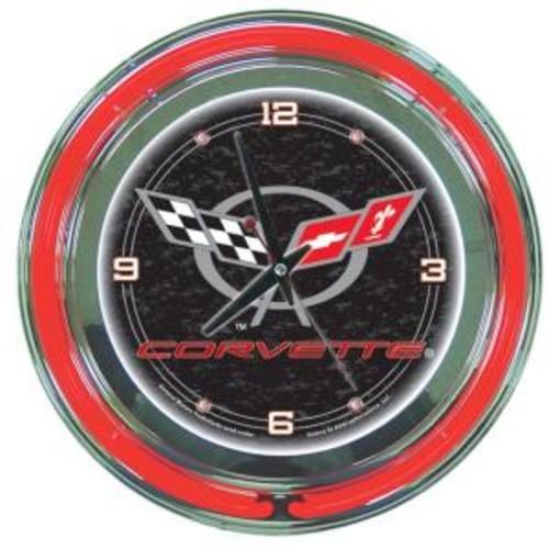 Trademark Global 14 in. Black Corvette C5 Neon Wall Clock