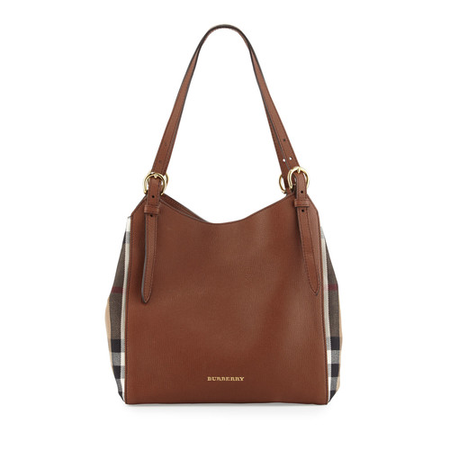 BURBERRY Canterby Small Check Shoulder Bag, Tan