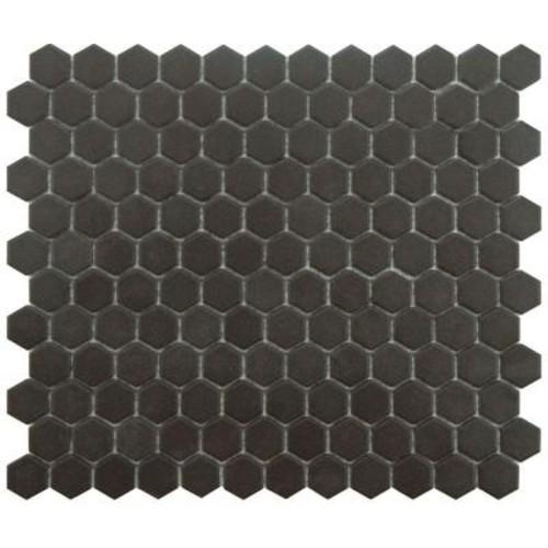 Merola Tile Gotham Hex Black 10-1/4 in. x 12 in. x 5 mm Porcelain Unglazed Mosaic Tile (8.54 sq. ft. / case)