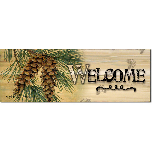 Welcome Pine Cone by Persis Clayton Weirs Graphic Plaque
