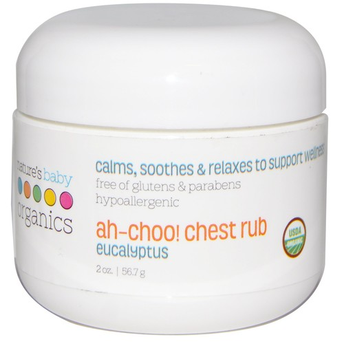 Nature's Baby Organics Ah-Choo! Chest/Cold/Vapor Rub, Eucalyptus, 2 oz.   Soothing Breathing Relief for Babies, Kids, & Adults! Natural for Sinus Congestion & Flus  No Synthetics, Glutens, Parabens