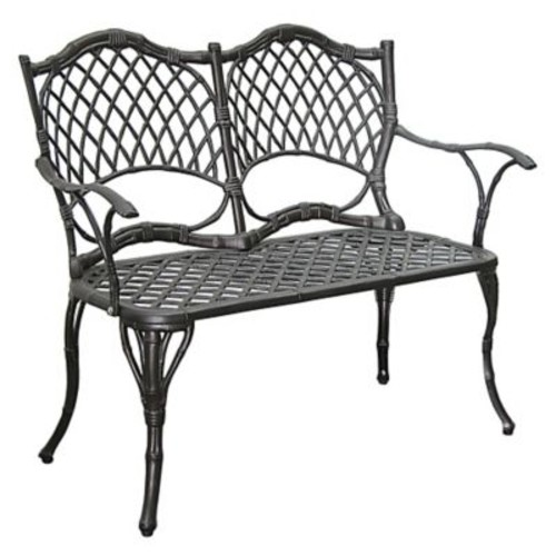 Innova Hearth and Home Cast Aluminum Garden Bench; Antique Black Bamboo
