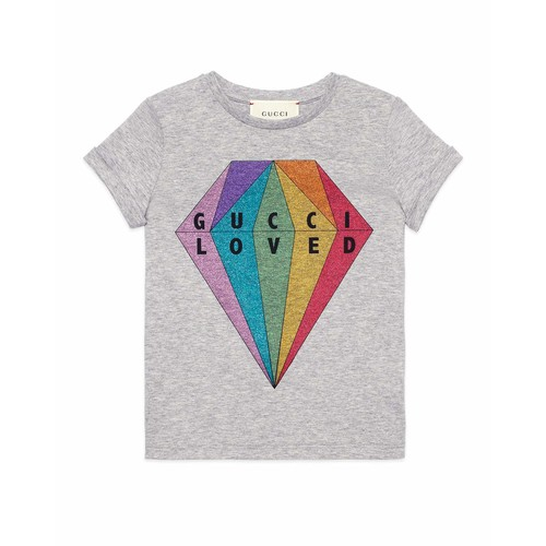 GUCCI Loved Glitter Diamond T-Shirt, Size 4-12