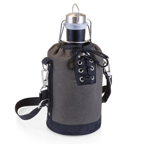 Picnic Time 64-oz. Stainless Steel Matte Black Growler with Tote