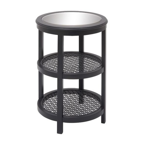 Stylish Wood Mirror Metal Black Accent Table