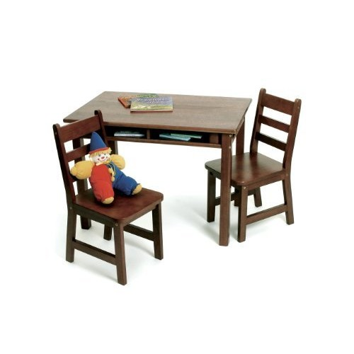 Lipper International 534WN Child's Rectangular Table with Shelves and 2 Chairs, Walnut Finish