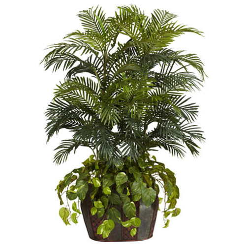Nearly Natural 4.5-ft. Double Areca & Pothos Silk Plant with Vase