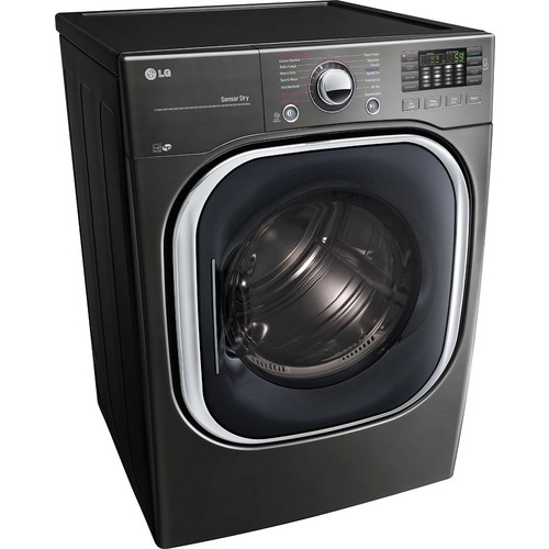 LG - 7.4 Cu. Ft. 14-Cycle Gas Dryer with Steam - Black stainless steel