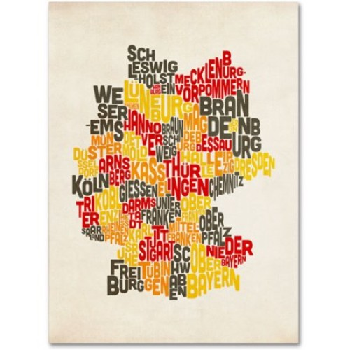 Germany Region Text Map by Michael Tompsett work, 14 by 19-Inch Canvas Wall Art [14 by 19-Inch]