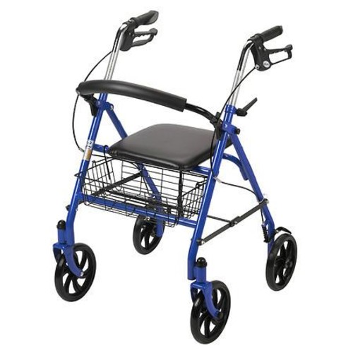 Drive Medical Four Wheel Walker Rollator with Fold Up Removable Back Support Blue