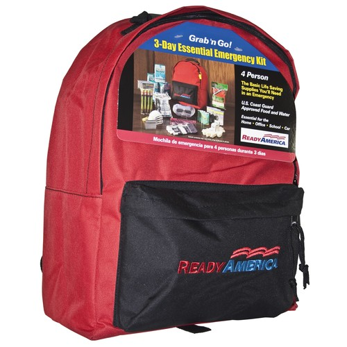 Ready America 4-Person 3-Day Basic Emergency Kit with Backpack