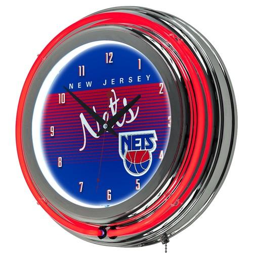 Jersey Nets Hardwood Classics Chrome Double-Ring Neon Wall Clock