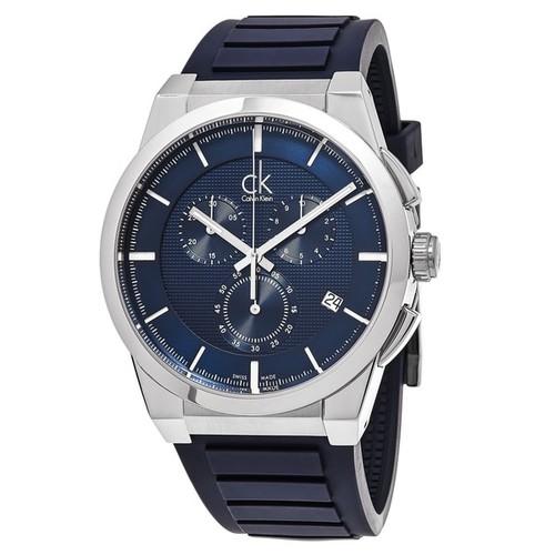 Calvin Klein Men's K2S371VN 'Dart' Blue Dial Blue Rubber Strap Chronograph Swiss Quartz Watch